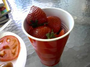 Memorial day fruit cup; watermelon and strawberries